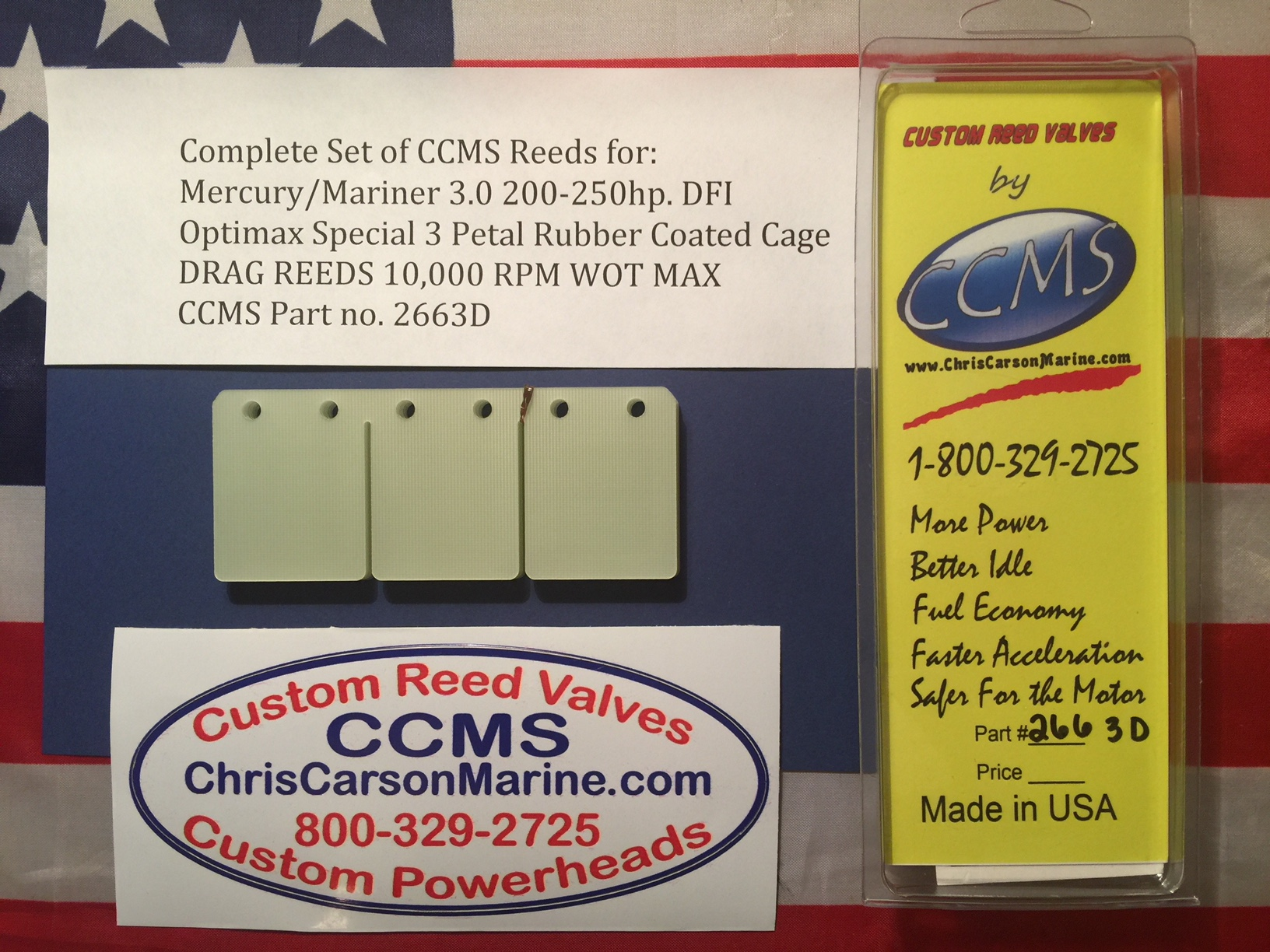 CCMS Mercury/Mariner Drag Outboard Reed 3 0 200-250hp  DFI Optimax Special  3 Petal Rubber Cages  PN 2663D
