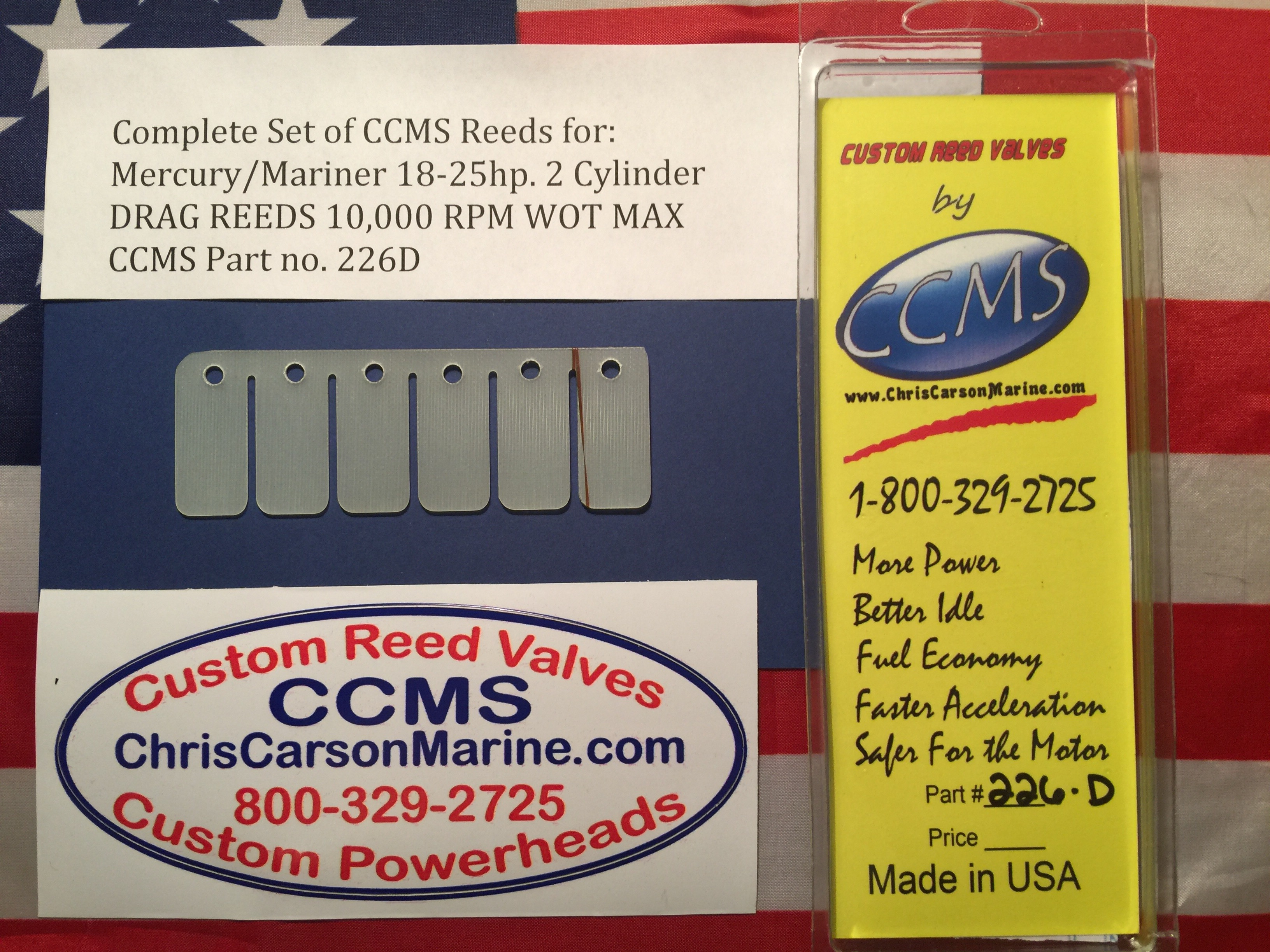 CCMS Mercury/Mariner Drag Outboard Reed 18-25hp  2 cylinder PN 226D