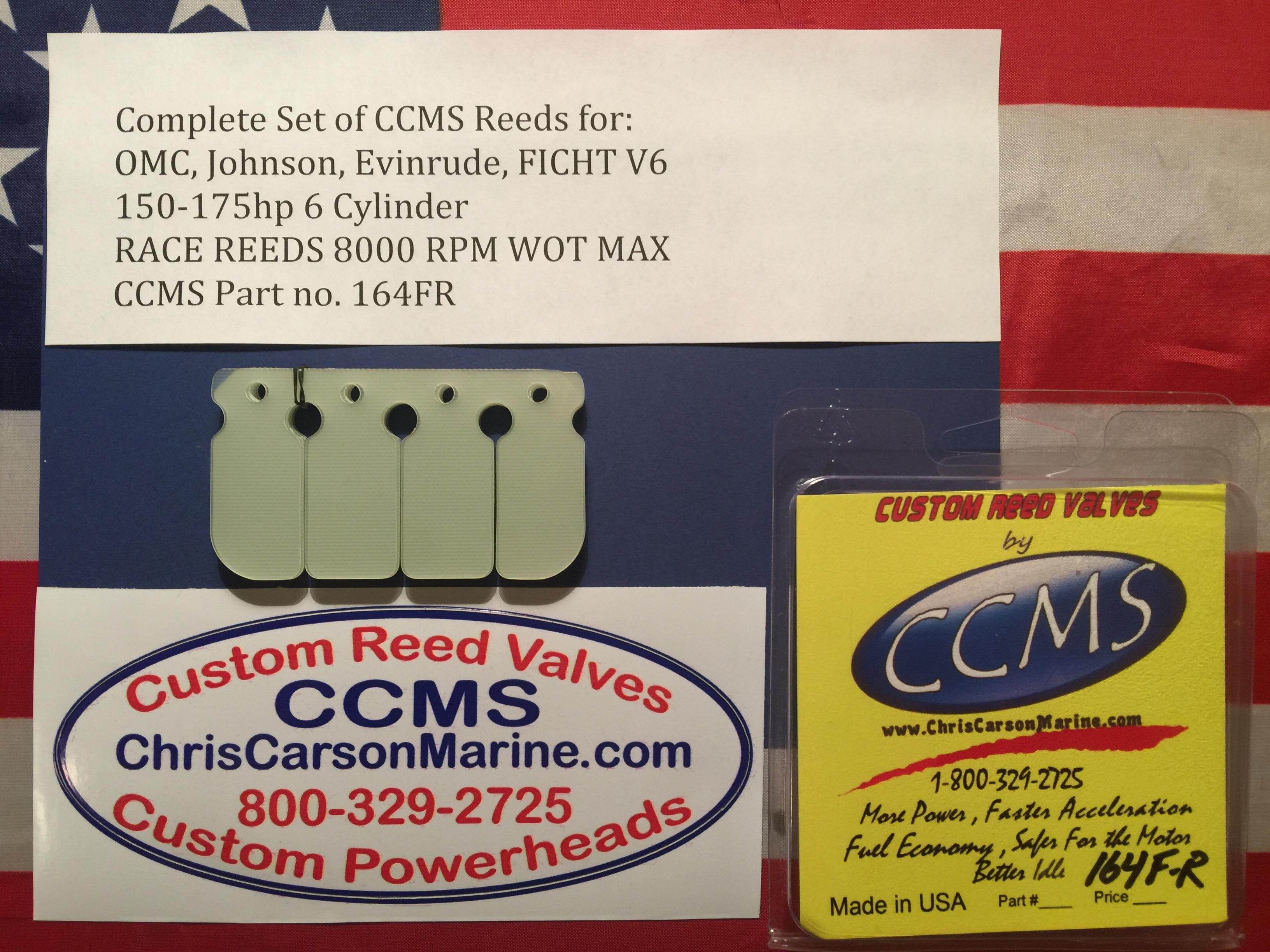 CCMS OMC/Johnson/Evinrude Race Reed Valves V6 Ficht 150-175hp  6 cylinder  Part no  164FR