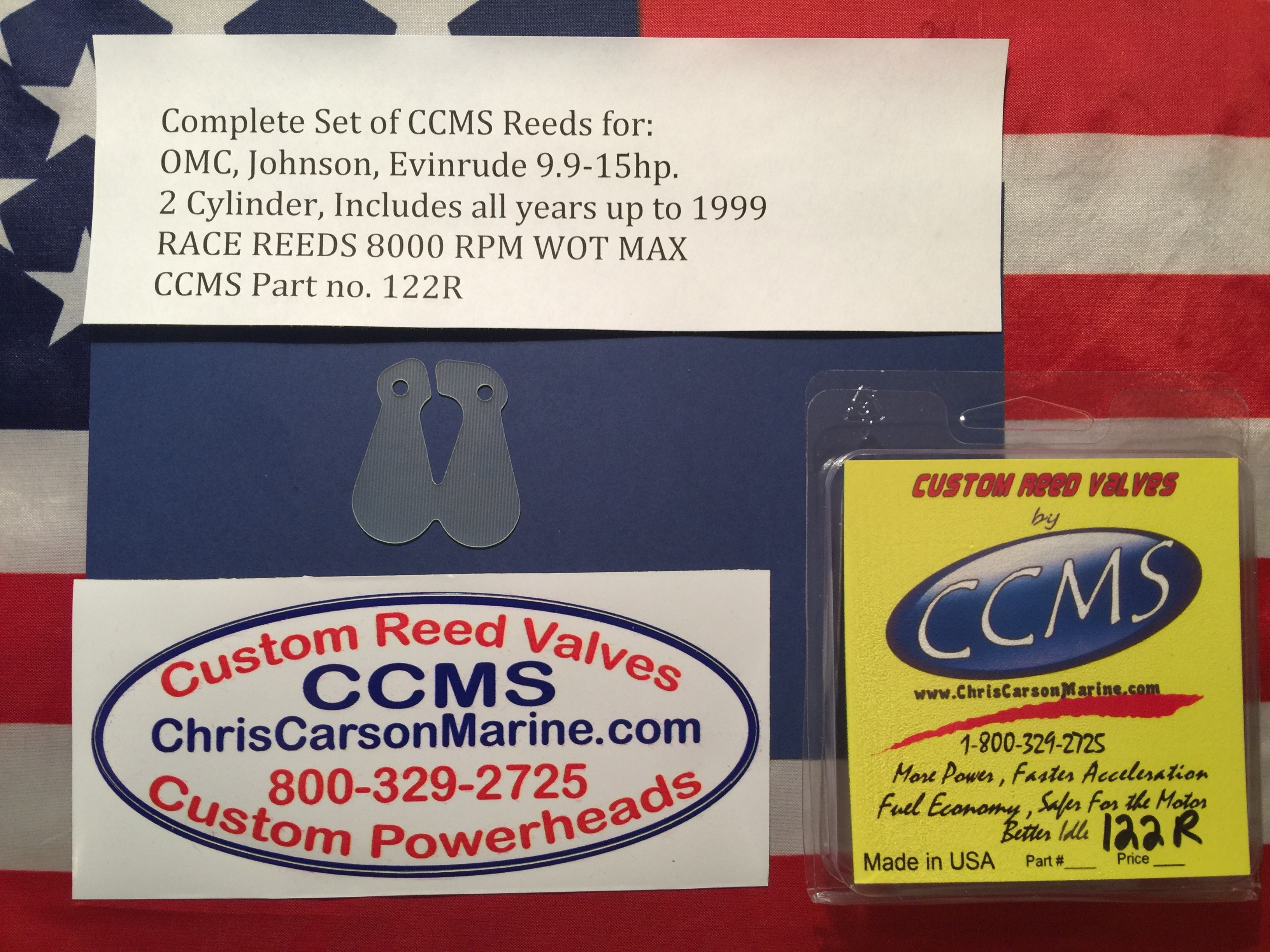 CCMS OMC/Johnson/Evinrude Sport Reed Valves 9 9-15hp  Includes all years up  to 1999 2 cylinder PN 122R