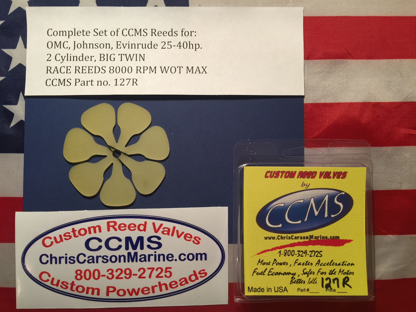 CCMS OMC Johnson/Evinrude Race Reeds 25-40hp  2 cylinder BIG TWIN PN 127R